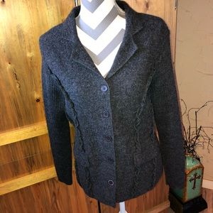 GORGEOUS Herman Geist Sweater 100% Wool Dark Gray
